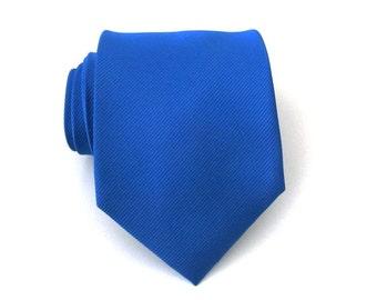 Blue Mens Ties - Palatinate Blue Tone on Tone Striped Silk Necktie