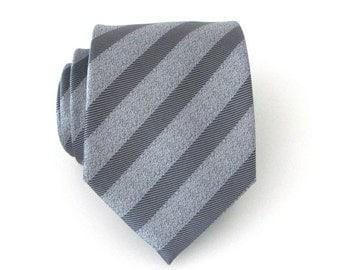 Mens Tie - Grey Striped Silk Mens Necktie