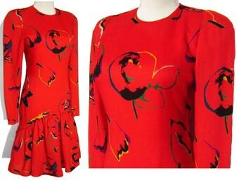 Vintage Pauline Trigere Dress 80s Red Wool Mod Tulip Flowers Print S / M