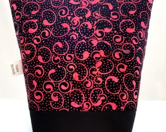 Insulated Lunch Bag - Pink & Black Batik Swirl Print