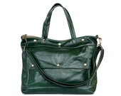 Leather Laptop Briefcase in Winter Green Leather - Archive Bag - Made to Order