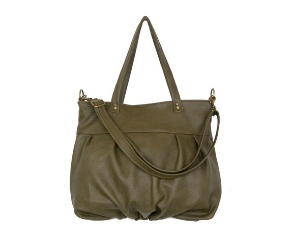 Mini Ruche Bag in Dark Olive Green Leather - LAST ONE - Ready to Ship