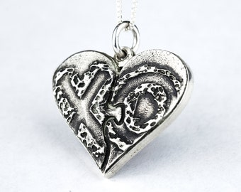 Puzzle Heart Necklace XO Sterling Silver Puzzle Piece Personalized