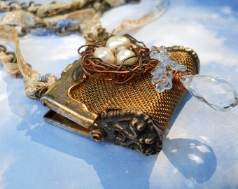 Romantic Engraved Vines Vintage Mesh Purse with copper bird nest  necklace on brass chain
