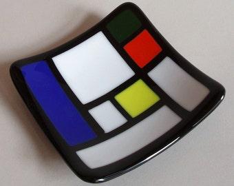 Fused glass bowl - Mondrian style design