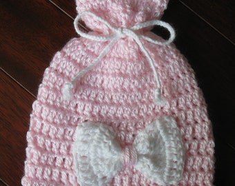 Crochet Newborn Baby Infant Girl Hat with Bow Knit Baby Beanie Cap Handmade Baby Bonnet Reborn Doll Acrylic Hat Baby Photo Prop Preemie Cap