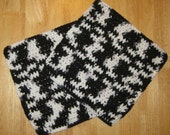 Crochet Cotton Dishcloth Set of Two Black and White