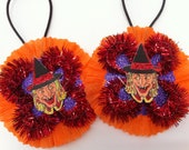Halloween WITCH w/orange #2 vintage style chenille ORNAMENTS set of 2 round medallions