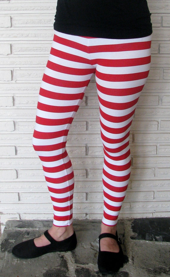 Candy Cane Leggings Red and White Striped Leggings Stretch