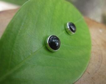 Handmade Black Onyx Sterling Silver Studs Post Earrings 6mm Ready to Ship