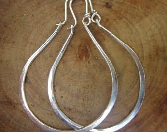 Handmade Artisan Gabriela  X Large Sterling Silver Hammered Hoops
