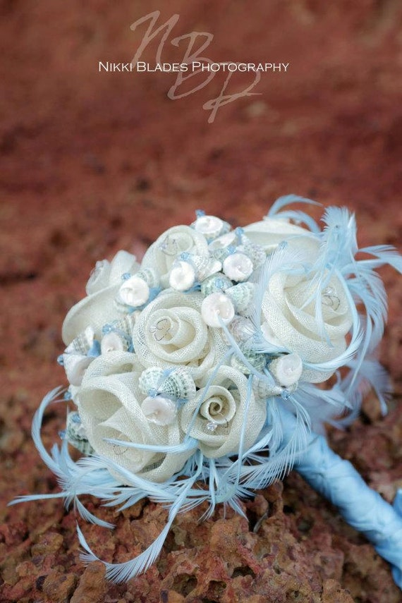 Bridal bouquet and matching boutonniere CALYPSO - seashells, handmade sinamay flowers and swarovski crystal