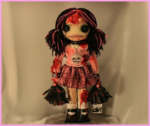 OOAK Zombie Cheerleader Horror Rag Doll Creepy Gothic Bloody Gore Folk Art By Jodi Cain