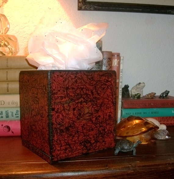 Distressed Kleenex Box Cover   Deep Red   Reserved for Theresa