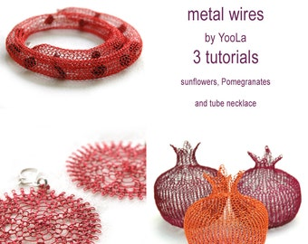 PDF Crochet tutorials flower pattern wire pomegranate tube necklaces wire crochet pattern jewelry  instructions , instant download