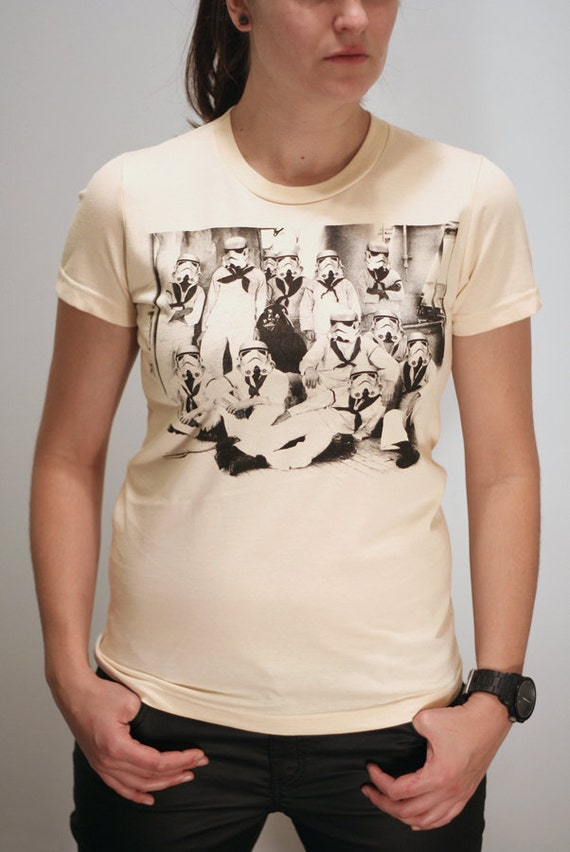 Vader's first Crew - American Apparel Womens t shirt   (Star Wars / Stormtrooper t-shirt)