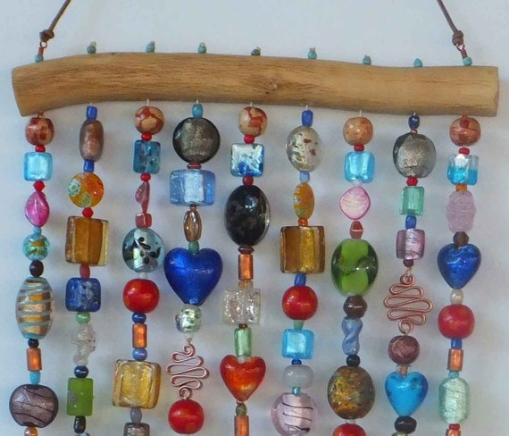 Beaded Wind Chime ( windchime ) Sun Catcher ( suncatcher ) on Mesquite Wood with Glass Beads and Bells
