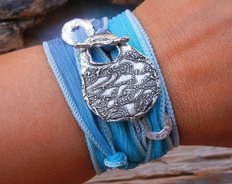 Boho Chic Jewelry, Bohemian Bracelet, STERLING Silver Boho Silk Ribbon Wrist Wrap, Boho Tattoo Art Design Bracelet, Bohemian Sky Blue Topaz