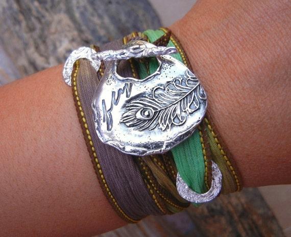 Peacock Feather Jewelry, Peacock Jewelry, Peacock Feather Bracelet, Peacock Silk Wrap Bracelet, STERLING Silver Peacock Feather Jewelry