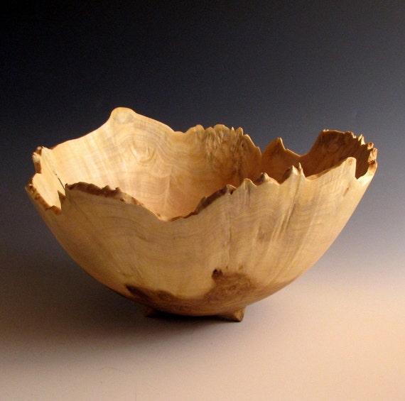 Poplar Burl Wood Turned Fruit or Salad Bowl