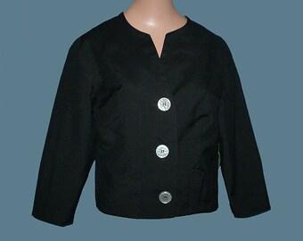 Vintage 60s Chic Black Jacket S NOS