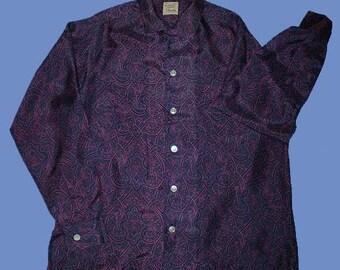 Vintage 60s Exotic Print Silk Shirt Long Sleeve M