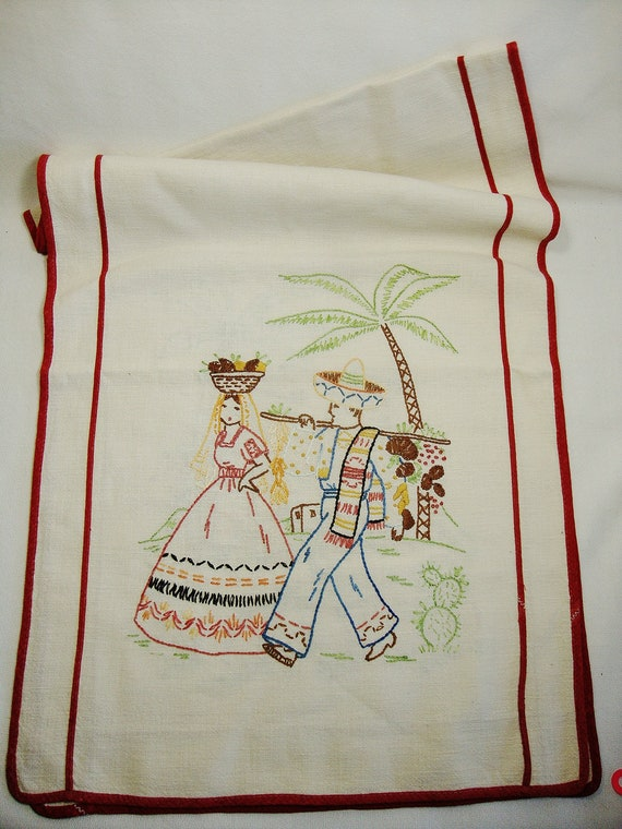vintage mexican embroidery table runner by Sassydoggs on Etsy