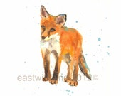 Baby Fox Art Print, Fox Lover Gift, fox, fox art, whimsical animals
