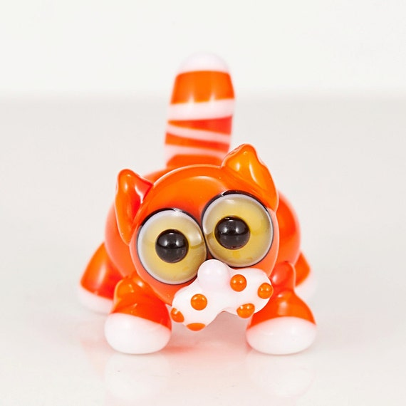 Orange Tabby Cat Lampwork Glass Bead