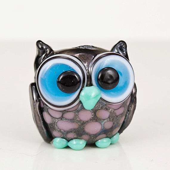 Metallic Black Violet Owl Lampwork Bead
