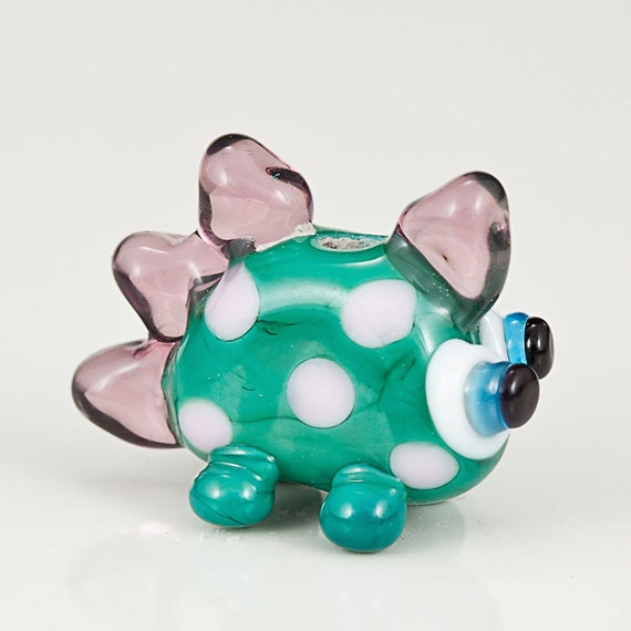 Green Pink Dinosaur Lampwork Glass Bead - Dinos for Diabetes