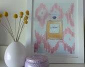 Art Print, Chanel No. 5 Perfume, Femininity, Luxe Bath & Beauty, Pink Ikat