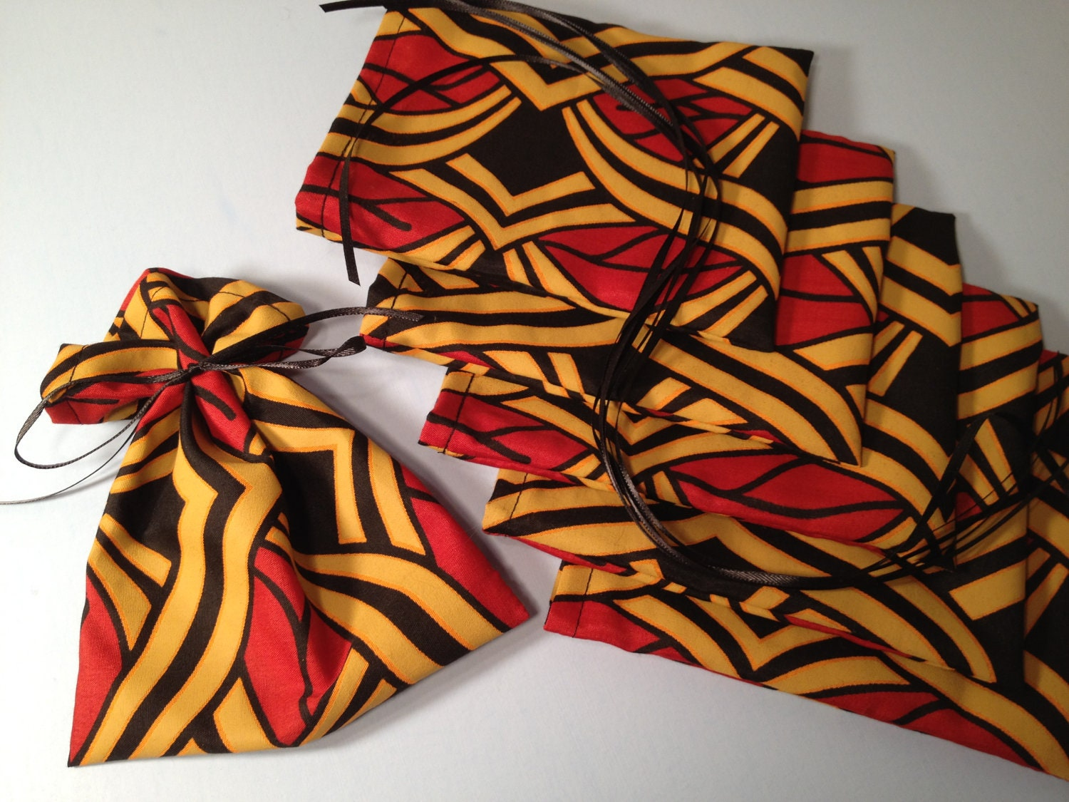 African Fabric Favor Bags 6 Ribbon Tied Mini By HugsandHolidays