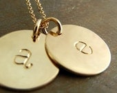 Double Gold Initial Necklace, Two 14K GF (14-karat gold fill) Half-Inch Lowercase Letter Charms on Chain, CHELSEA DUO by E. Ria Designs