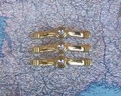 SALE! 3 vintage faux diamond accent Deco style shiny brass metal handles