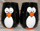 Hand painted stemless penguin wine glasses, one pair