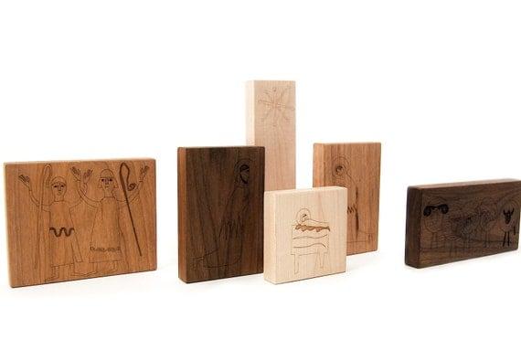 Modern Block Nativity, 6 piece - Child-Proof Nativity - Christmas Toys - Toddler Nativity Set - Handmade Wood Nativity -BL26
