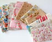 destash fabric sale - florals (small pieces of fabric)