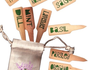 Culinary Herb Garden Plant Pot Markers - 10 Funky Green with Adorable Embroidered Gift Bag