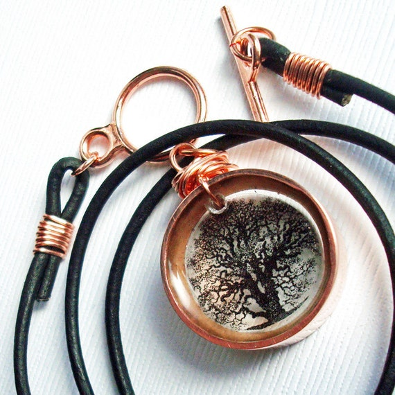 tree of life necklace, copper and resin necklace,twisted oak, unisex , gifts under 40