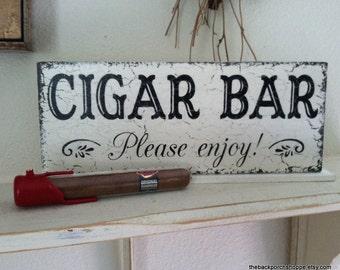 CIGAR BAR Sign - Cigar Bar Wedding Signs - Please enjoy - Self Standing Sign - 4 3/4 x 12