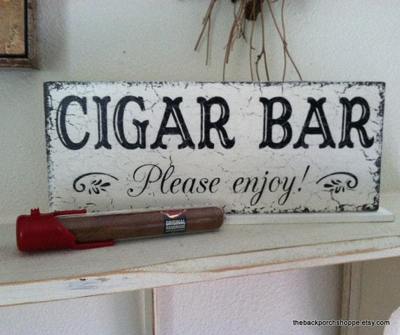 CIGAR BAR Sign - Cigar Bar Wedding Signs - Please enjoy - Self Standing Sign - 4 3/4 x 12