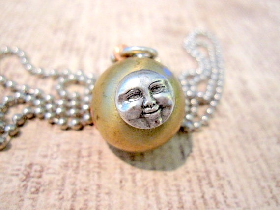 man in the moon ball locket necklace