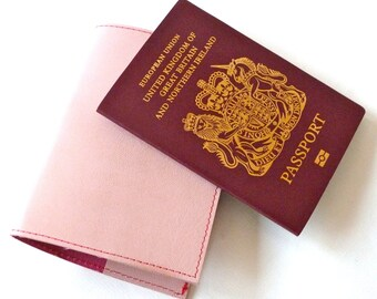 Leather Passport Holder, Light Pink