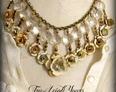 Reserved for Linda ... Crown of Roses Necklace:  white roses, chandelier drops  - French Vintage Necklace