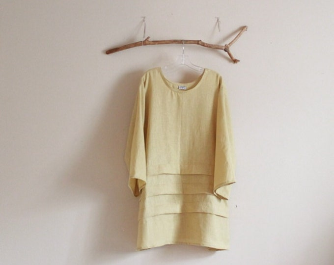 handmade to measure plus size  3 pleats eco linen tunic
