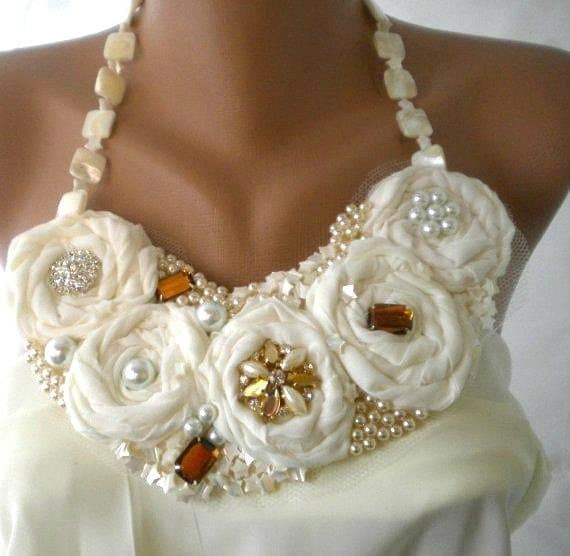 Country Weddings Statement  Bib  Necklace Brides