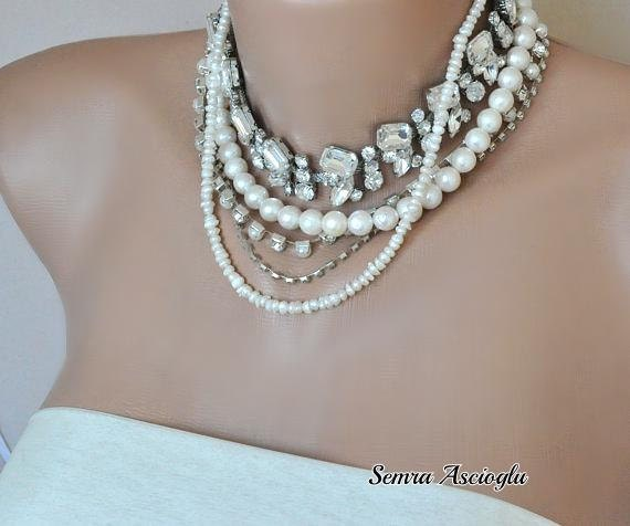 Chunky Layered Chunky Bold  Necklace with Freshwater Pearls Rhinestones brides  bridesmaids