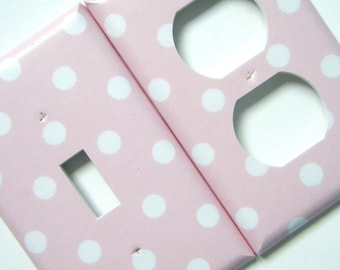 White Polka Dots on Light Pink Background Light Switch and Outlet Cover