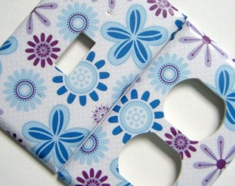 Light Switch Cover Outlet Cover Switchplate -- Purple and Blue Flowers